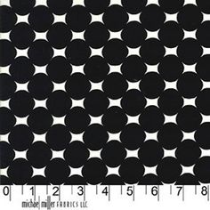 FAT QUARTER  Michael Miller Fabric Atomic Dots in Ebony