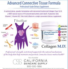 Start your Sunday off right with Advanced Connective Tissue Formula by Collagen MD! Discover the health benefits of this professional only nutricosmetic! Serve a signature Collagen Elixir in the Spa and send it home with your clients for skin, hair, nails, lashes and joint health! Available on our professional only web site www.californiaskincaresupply.com