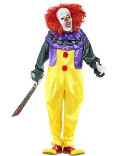 Halloween Mens Classic Horror Clown Fancy Dress Costume It Outfit Halloween Herren Classic Horror Clown Kostüm It Outfit Scary Clown Outfit, Scary Clown Costume, Gruseliger Clown, Jester Costume, Scary Clown Mask, Scary Clowns, Costume Dress, Circus Clown, Scary Circus