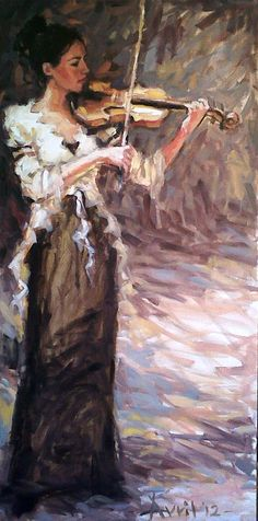 "'LADY PLAYING THE VIOLIN"" Artist: Avril Hattingh 