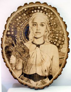 Daenerys Stormborn from game of thrones. Emilia Clarke. #pyrography #woodburning #kreepykentucky kreepykentucky.com Pyrography Ideas, Laser Cutter Ideas, Leather Art, Mother Of Dragons, Wood Creations, Emilia Clarke, Woodcarving, Crafts To Do, Wood Burning