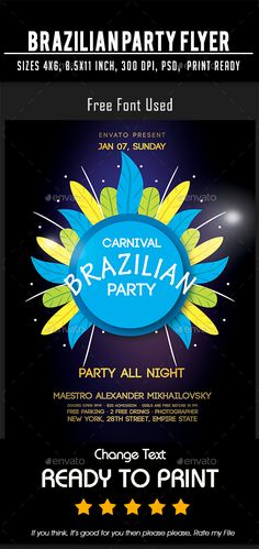 Brazilian Party flyer Ready to use Template. You can use this, Simply Just Change Text, Easy to customize & edit.Print dimensions:Hight Quality x bleed x x bleed x editable text CMYK @ 300 DPI ¨C Print-ready Free Fo Flyer Design Templates, Print Templates, Flyer Template, Brazil Flag, Flyer Size, Club Poster, Party Names, Flyer Printing, Club Parties