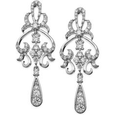 Wrapped in Love Diamond Fancy Drop Earrings in 14k White Gold (1 ct. ($959) ❤ liked on Polyvore featuring jewelry, earrings, diamond jewelry, chandelier earrings, wrap earrings, pandora jewelry and white gold earrings