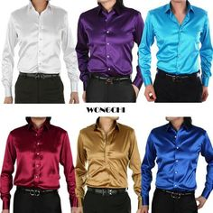 21 COLORS Silk Men's dress shirts Presided over the wedding groomsmen shirts