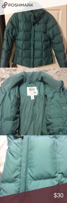 Eddie Bauer goose down coat Eddie Bauer Goose Down coat. 700 Fill Power. Has nice fleece lining around neck and arm holes.  Zippered exterior pockets and one interior pocket. Color is a pretty sage green. Very good used condition with slight discoloration around pockets and sleeves. No tears, rips, etc. Eddie Bauer Jackets & Coats