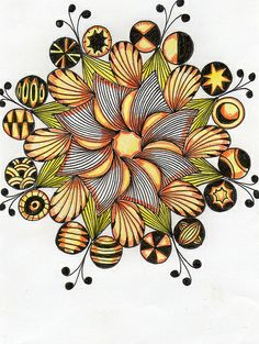 """""""apricot slices"""" by country 15 on Flickr Zentangle Drawings, Doodles Zentangles, Doodle Drawings, Tangle Doodle, Zen Doodle, Doodle Art, Zantangle Art, Zen Art, Doodle Patterns"""