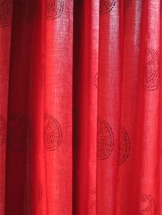 Hand block printed curtain  Red 47w x 92 by rasany on Etsy, $49.00