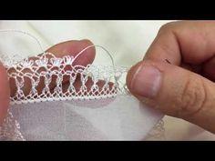 İğne oyası ipek başörtü yapımı - YouTube