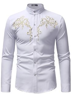 Men's Floral Shirt Basic Long Sleeve Daily Slim Tops Standing Collar White Black Wine / Spring / Work 2021 - Can $34.14 Cheap Mens Shirts, Mens Shirts Online, Casual Shirts For Men, Men Casual, Work Casual, Casual Summer, Summer Outfit, Work Tops, Buy Dress