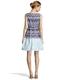 Taylor Navy And Sky Blue Floral Print Fit-And-Flare Dress