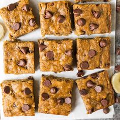 Healthy Banana Bars with Chocolate Chips. Moist, chewy, and easy to make. Kids love them and they are perfect for healthy desserts and snacks! snacks for kids Banana Bars Vegan Healthy Snacks, Healthy School Snacks, Healthy Toddler Snacks, Healthy Baking, Healthy Drinks, Healthy Snacks For Traveling, Healthy Desserts With Bananas, Banana Recipes For Kids, Healthy Oat Bars