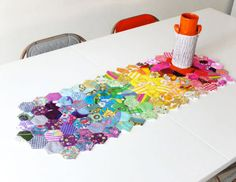 Tutorial: Rainbow hexagon table runner. Extremely good tutorial applicable for other projects.