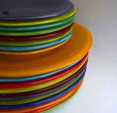 Bright Colored, Handmade, Fused Glass Small Plates: Eclectic Home Decor