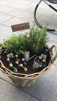 "I made ""Herb Garden"" as a housewarming gift for a friend. - I made ""Herb Garden"" as a housewarming gift for a buddy. I made ""Herb Garden"" as a housewarming gif - Anniversary Gifts For Parents, Anniversary Decorations, Birthday Decorations, Diy Gifts For Girlfriend, Garden Gifts, Birthday Presents, Herb Garden, Gift Baskets, House Warming"
