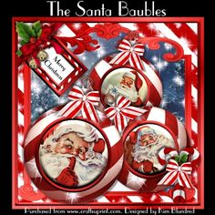 The Santa Baubles by Kim Blundred This kit contains 5 sheets and is designed for use with an 8x8 card blank. The sheets are Square Base Square Insert Decoupage layers and sentiment panels. The text panel is fixed on the design. Please see the text detail for the choice of sentiments included.The design features large red and white striped baubles with a variety of Santa cabachons. The baubles are