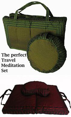Meditation Cushion Crescent Zafu Pillow & Folding/Travel Zabuton Mat Set - Global Weave - Burgundy