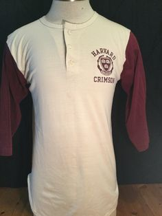 Vintage 1980's Raglan 50/50 T-Shirt Harvard Crimson Size Large Champion by 413productions on Etsy