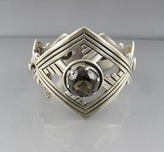 Bracelet | Signed MMA. Sterling with smokey quartz.  ca. 1970s - 80s, Mexico