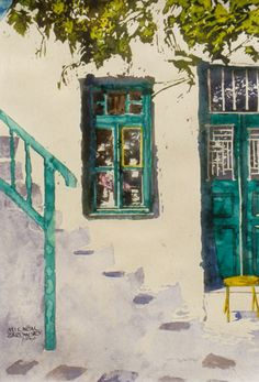 """yellow lined glass pane in window 18"""" x 14"""" mykonos  micheal zarowsky / watercolour on arches paper / private collection"""