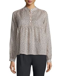 Michael Kors Collection Long-Sleeve Mini Floral-Print Blouse, Nude/Black New offer @@@ Price :$795 Price Sale $681.5