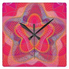 Guilloche Pattern Lines magenta Square Wall Clock