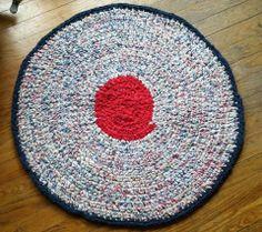 """Hand Crocheted Upcycled Rag Rug ~ 32"""" diameter  Red / Blue / White  Shabby"""