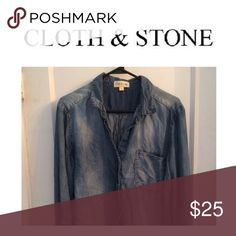 Cloth and stone jean button up Cloth and stone jean button up size large Anthropologie Tops Button Down Shirts