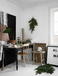 14 Beautiful Ideas for a Minimalist Christmas. Craft a pretty and simple wreath or hang a winter green garland around your living room, or defy red & green as seasonal colors and make use of scandi-inspired black and white ornaments and wrapping paper. Super trendy, and super sleek.
