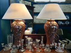 "Large Lamp With Brown Glaze and Plum Blossoms   34"" Tall  $110 Each   Dealer #1216  Lucas Street Antiques Mall 2023 Lucas Dr.  Dallas, TX 75219"