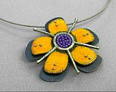 Handmade yellow orange passion flower sterling silver and purple seed bead pendant/brooch