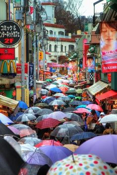 "Takeshita street 竹下通り Harajuku, Tokyo 原宿 Photo by Agustin Rafael Reyes. ""A rainy weekend in Tokyo made the famous street in Harajuku look like a river of umbrellas. Kyoto, Yokohama, The Places Youll Go, Places To See, Japan Kultur, Beautiful World, Beautiful Places, Parasols, Jolie Photo"