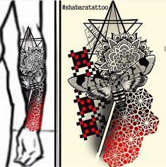 Forearm - Mandala, hexagonal pattern with Death's-head hawkmoth and sacred geometry, pixel pattern Neue Tattoos, Body Art Tattoos, Tribal Tattoos, Sleeve Tattoos, Cool Tattoos, Celtic Tattoos, Geometric Tattoo Sleeve Designs, Mandala Tattoo Design, Tattoo Designs