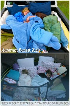 Fill a truck or trampoline with pillows and blankets and have an outdoor campout under the stars! This and more summer bucket list items on Frugal Coupon Living.