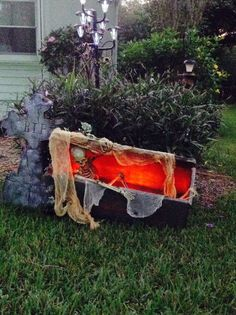 Halloween coffin...red lighting adds the perfect touch