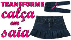Transforme calça jeans em saia - Diy saia com babado - Suellen Redesign