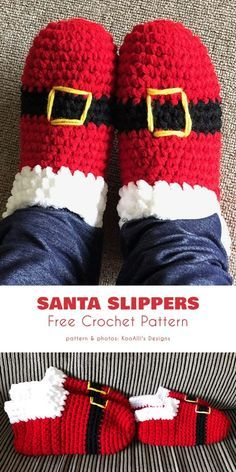 Santa Slippers for All Free Crochet Patterns Santa Slippers Free Crochet Pattern If you need to complete your Christmas wordrobe, and fast, these santa slippers are just the thing to make the look complete. Very easy pattern, perfect for beginners! Crochet Slipper Boots, Crochet Slipper Pattern, Crochet Slippers, Crochet Shorts Pattern, Crochet Santa, All Free Crochet, Crochet Baby, Crochet Crafts, Crochet Projects
