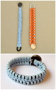 DIY Macrame Paracord Bracelet Tutorial from Remarkably Domestic here. Links to supplies and really easy to follow directions for this DIY.