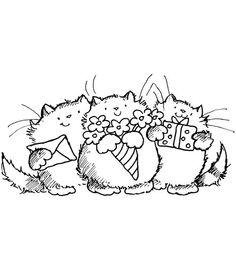 three cats birthday envelope flowers present