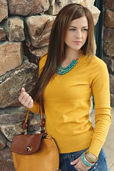 casual fall. Mustard + Turquoise