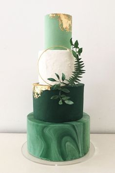 """Best Wedding Photographers – By City, Around the World – ISPWP """"Gilded Greenery"""" Botanical inspired green marble wedding cake with edible rose gold leaf and foliage wreath by Blossom & Crumb Wedding Cake Decorations, Wedding Cake Designs, Green Wedding Cakes, Gold Wedding Cakes, Wedding Cake Flowers, Modern Wedding Cakes, Fern Wedding, Gold Weddings, Wedding Gold"""