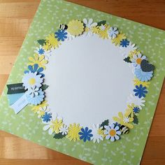 Circle of Flowers Scrapbook Page Layout Baby Girl Scrapbook, Scrapbook Cover, Birthday Scrapbook, Wedding Scrapbook, Scrapbook Cards, Baby Scrapbook Pages, Vintage Scrapbook, Scrapbook Layout Sketches, Scrapbook Designs