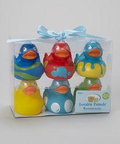 Bad eendjes Manelle & Petina Red & Green Rubber Ducky Set
