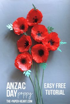 You know me – I love poppies, and this is not the first poppy project I have offered you here, but this one is very easy! A bunch of these tissue paper poppies will take less than half an afternoon and will easily satisfy your ANZAC day decorating needs ♥ Rolled Paper Flowers, Paper Flower Art, How To Make Paper Flowers, Tissue Paper Flowers, Paper Flower Tutorial, Flower Crafts, Paper Poms, Tutu Tutorial, Flower Making Crafts