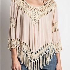 Tassel  Blouse Trendy Hollow Out Tassel blouse!! Our Size.  Bust    	        Length	Shoulder Width One-Size35.43~40.16	     30.71	      14.96~17.72 Tops Blouses