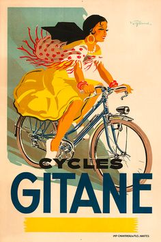 Cycles Gitane Bicycle Poster Name: Cycles Gitane Artist: Signed Circa: 1950s Origin: France These posters are digital fine art reproductions of an original vintage poster printed on heavy 245 gram fine art archival paper with fade resistant inks on a 12 color Giclee printer. POSTER SIZING: The three smaller size posters are printed to the exact size and will fit readily available standard sized frames. The larger sizes have the first dimension exact (31 in. x ZZ in.) (38 in. x ZZ in.),...
