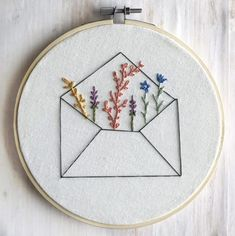 Envelope Wildflower Embroidery Hoop Wall Art, Long Distance Gift, Embroidery Hoop Art, Minimalist Decor, - - Embroidered wildflowers bursting from an unassuming envelope. A sweet reminder of how happy mail can be - especially for Embroidery Flowers Pattern, Embroidery Patterns Free, Hand Embroidery Stitches, Modern Embroidery, Embroidery Hoop Art, Simple Embroidery Designs, Hand Stitching, Couture Embroidery, Etsy Embroidery