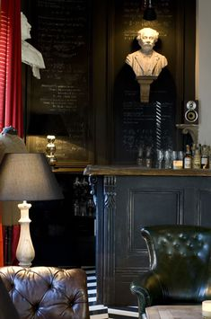 Chalkboard Paint Projects - Juniper Home Oak Restaurant, Restaurant Interiors, Chalkboard Paint Projects, Cafe Interior, Interior Design, Interior Doors, Whiskey Room, The Dark Side, Masculine Interior