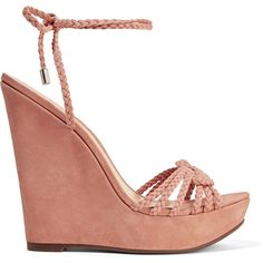 Schutz - Macarena Braided Suede Wedge Sandals ($115) ❤ liked on Polyvore featuring shoes, sandals, antique rose, woven wedge sandals, high heel stilettos, woven sandals, wedge heel sandals and platform stilettos