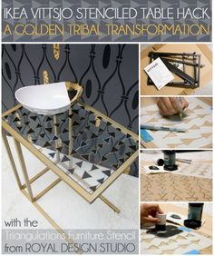 IKEA Hack with stencils. Transforming the Vittsjo table using the Triangulations stencil from Royal Design Studio