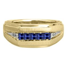 Men's Blue Sapphire and Diamond Yellow Gold Ring Available Exclusively at Gemologica.com